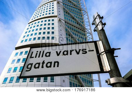 MALMO SWEDEN - MARCH 07 2017: Malmo Turning Torso in Lilla varvsgatan city landmark designed by Spanish architect Santiago Calatrava in Neo-futuristic architectural style is largest building in Skane area of Sweden