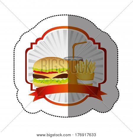 color emblem with hamburger, soda and fries french and ribbon, vector illustration