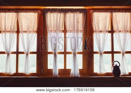 Decorative Wooden Windows And Curtains