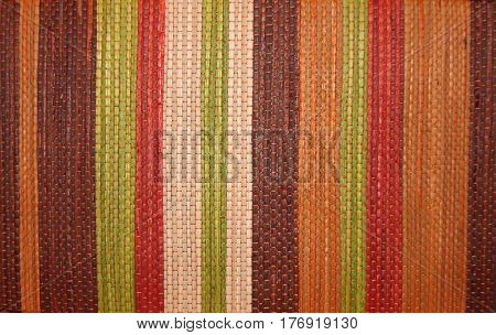 Closeup of Colorful Stripes on a Woven Basket