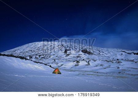 wild camp in winter Etna Park at night, Sicily