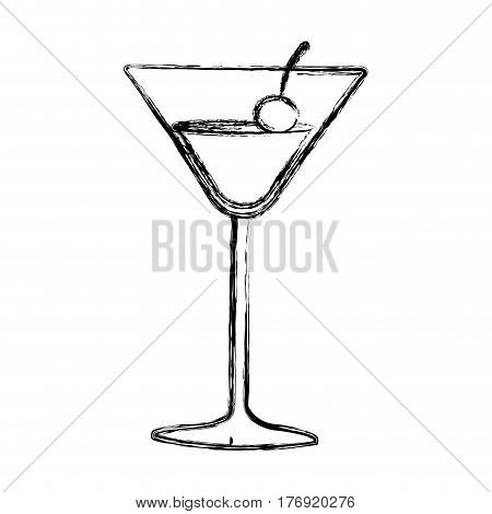 figure cocktail beverage with cherry icon, vector illustration design