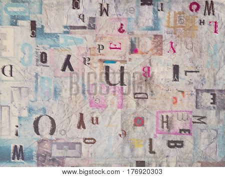 Mixed Cutout Letters on Paper, Creative Abstract Background