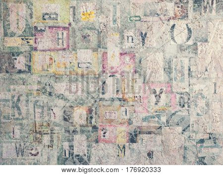 Mixed Letters Chaotically Composed on Plywood Background