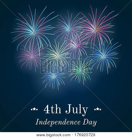 Festive fireworks in honor of Independence day. Card for 4th July. Vector Illustration.