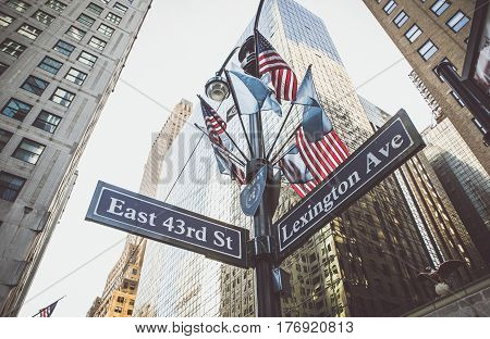 Lexington avenue and east 43rd street intersection