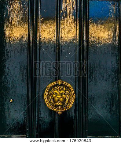 beautiful brass knocker in the shape of a lion's head on a background of the black wooden door echoing the shape of the building on the door decoration