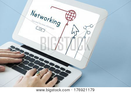 Illustration of global communications network connection on laptop