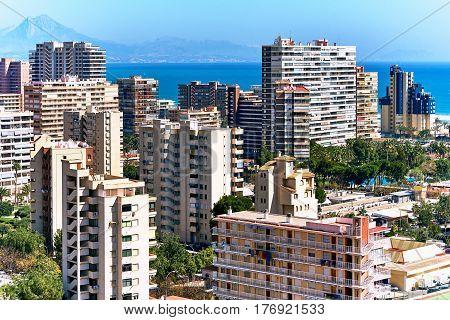 High-rise buildings of San Juan de Alicante. Costa Blanca. Spain