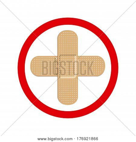 circular frame with band aid in cross form vector illustration