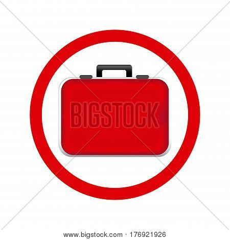 circular frame red firts aid kit and handle vector illustration