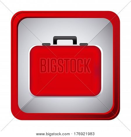 colorful frame square button red firts aid kit and handle vector illustration