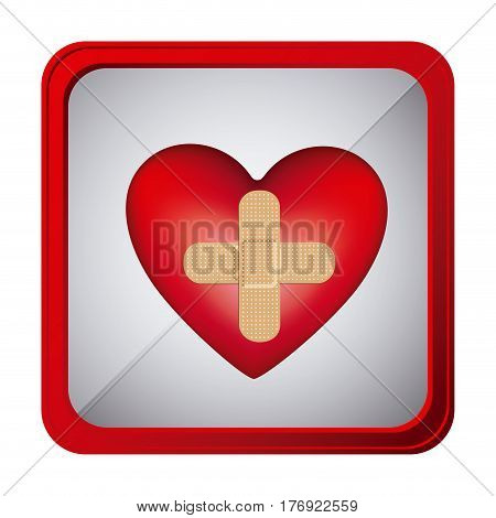 colorful frame square button heart band aid in cross form vector illustration