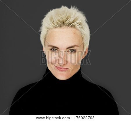 Caucasian Blonde Woman Smirk Smile