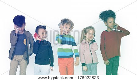 Group of Kids Using Mobile Phone