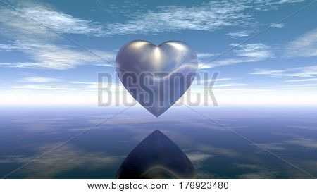metal heart symbol under cloudy sky - 3d rendering