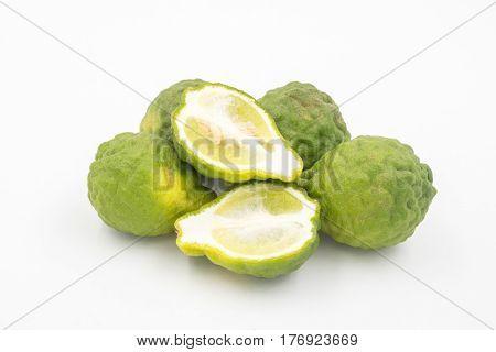 Bergamot or kaffir lime on white background.
