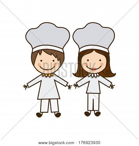 colorful caricature couple chef costume vector illustration