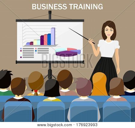 Businesswoman making presentation explaining charts on a white board. Business seminar. GRAPH AND DIAGRAM - 3D