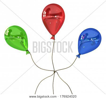 Red party balloon tethered knot 3d illustration horizontal over white