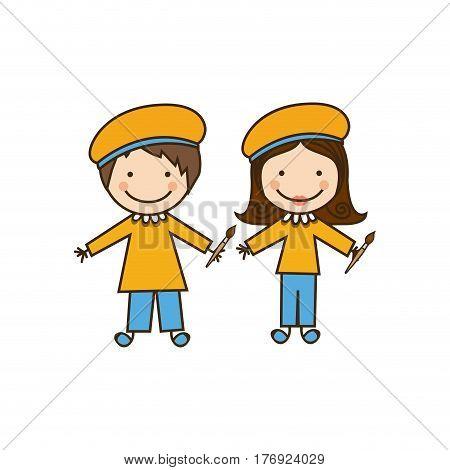 colorful caricature couple painters costume vector illustration