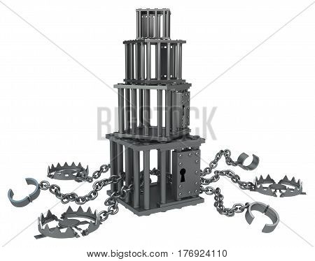 Traps chain with cage stack dark metal 3d illustration isolated horizontal over white