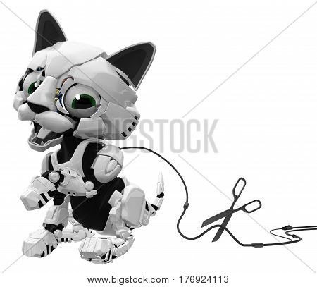 Robotic kitten with cable cut 3d illustration horizontal isolated