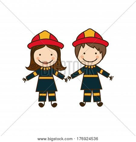 colorful caricature couple firefighters costume vector illustration