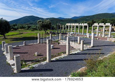 Part of the Agora in the archaeological site of ancient Messene in Peloponnese, Greece
