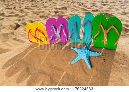 Summer beach fun - set of family sandals in sand on beach