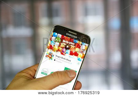 MONTREAL CANADA - MARCH 10 2017 : Angry Birds game on Samsung s7. Angry Birds is a video game franchise created by Finnish company Rovio Entertainment.