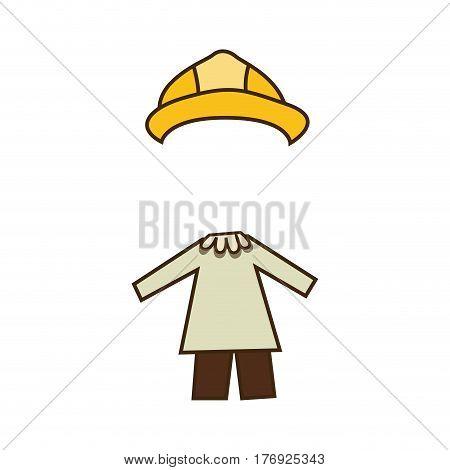 colorful caricature architect costume profession vector illustration