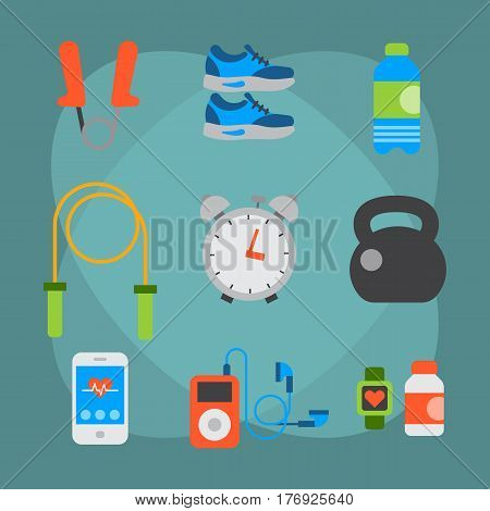 Flat icons set of fitness sport equipment and healthy lifestyle exercise supplements well-being body modern design style vector icons collection. Isolated on white background weight equipment.