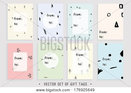 Vector collection of 8 printable gift tags suitable for any holiday gift. Easy to edit and ready to use. Hand drawn holiday labels in pastels.
