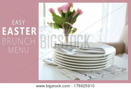 Text EASY EASTER BRUNCH MENU on background. Clean dishware on table