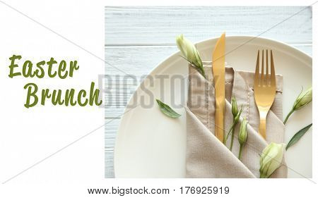 Text EASTER BRUNCH on background. Elegant table setting with floral decor