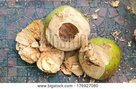 Closeup to Pile of Cracked Coconut Shell