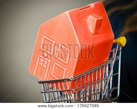 Buying property or home real estate investment concept. Woman hand holding shopping cart with house inside