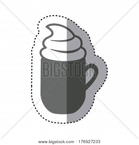 sticker monochrome silhouette mug of cappuccino with cream vector illustration
