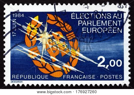 FRANCE - CIRCA 1984: a stamp printed in France dedicated to 2nd European parliament election circa 1984