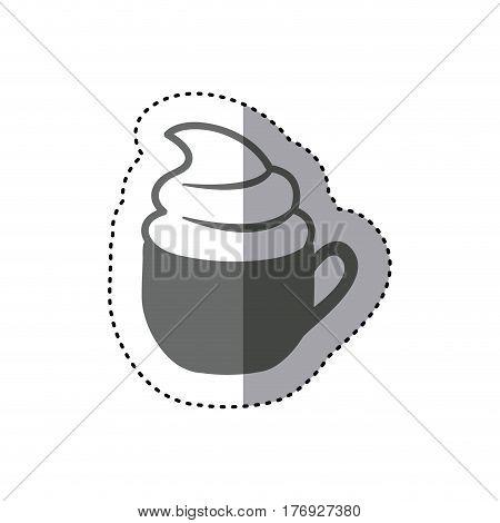 sticker monochrome silhouette cup of cappuccino with cream vector illustration