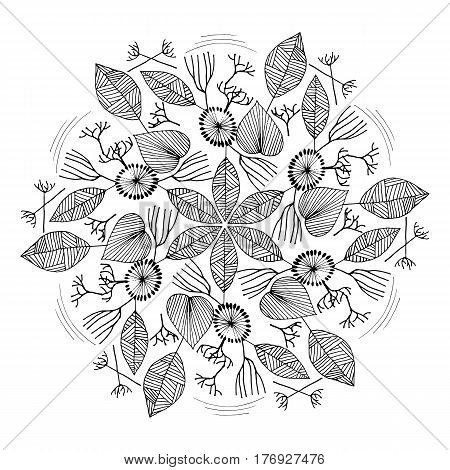 Hand drawn floral mandala. Stock vector illustration for decoration in boho style