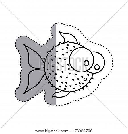 sticker silhouette blowfish aquatic animal icon vector illustration