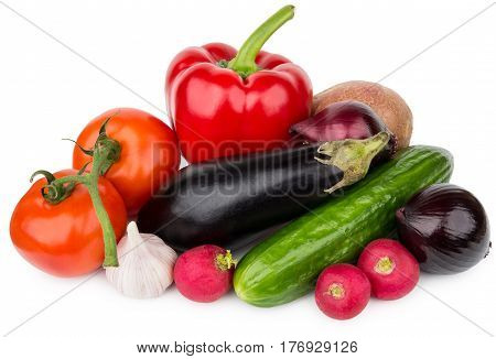 Heap Of Different Vegetables Isolated On White