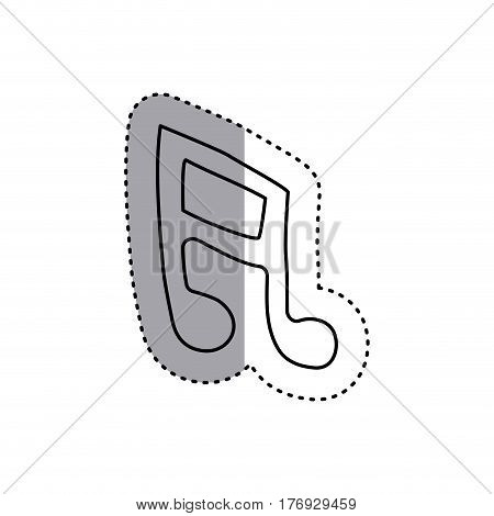 sticker contour musical note icon flat vector illustration