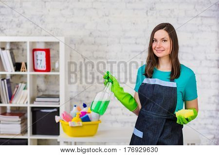 Young professional positive cleaning woman with spray and sponge, standing in a Office premises and looking at camera. Service cleaning staff