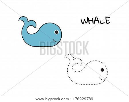 Children coloring book with a picture of a whale and a contoured image to teach children to draw, whales painted on a white isolated background