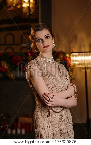 Portrait Of Young Woman In Art-deco Style