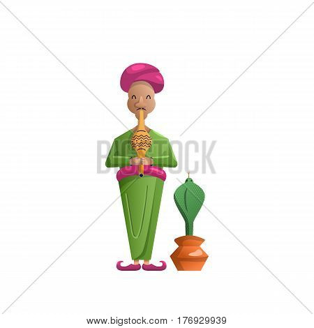vector cartoon character of an Indian snake Charmer and the Cobra which is dancing to the music of a pipe, isolated on white background