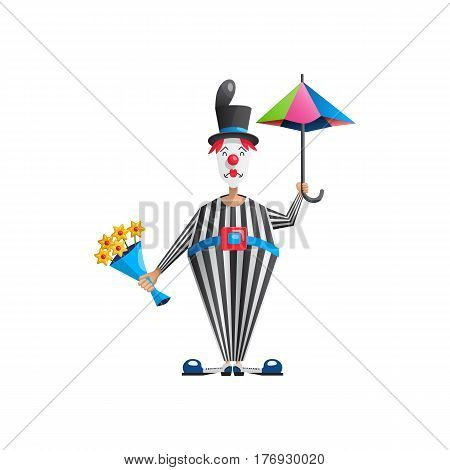 a good actor the man who plays a sad clown MIME, vector illustration in flat cartoon style